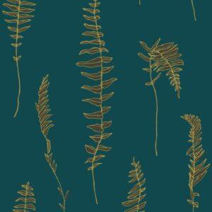 Dancing fern - Gold auf Petrol - Julia Schumacher | abstrakt elegant Farn gold graphisch hygge malerisch modern Natur Outline