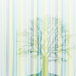 Tree - Sabine Schröter | black blue bricks color gradient fading geometric green grey modern mural stone tree trees vertical stripes wall design