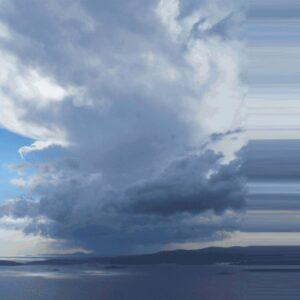 Cape Blue - Sabine Schröter | blau grau Himmel horizontal Landschaft Meerblick modern Mural Streifen Wandgestaltung Wetter Wolken