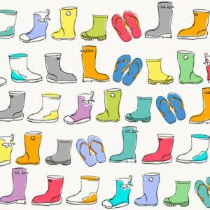 Wellies, offwhite - Sabine Schröter | Gummistiefel heiter Kids Kinder Kinderzimmer kindlich modern naiv poppig Rapport simple Wellies Wellington Boots