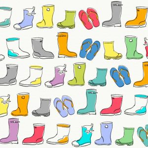 Wellies, offwhite - Sabine Schröter | bright and cheerful cheerful childlike gumboots kids kids modern naive nursery repeat simple wellies wellington boots