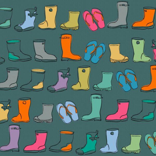 Wellies, petrol - Sabine Schröter | Gummistiefel heiter Kids Kinder Kinderzimmer kindlich modern naiv Rapport simple Wellies Wellington Boots