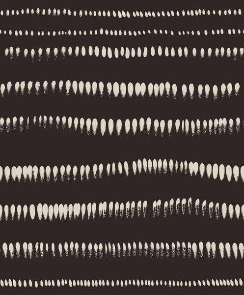 Brushstrokes - Creme auf Dunkelbraun - Julia Schumacher   abstrakt ethno graphisch horizontal Linien modern Pinselstriche schwarz/weiß Streifen Wellen