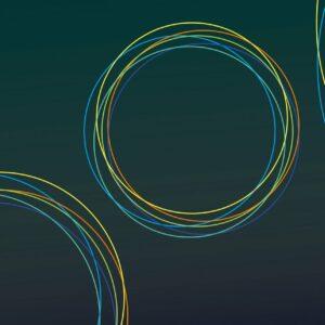 Orbis - Petrol - Sabine Schröter | abstrakt blau geometrisch kräftig Kreise modern Mural Petrol Ring Wandgestaltung