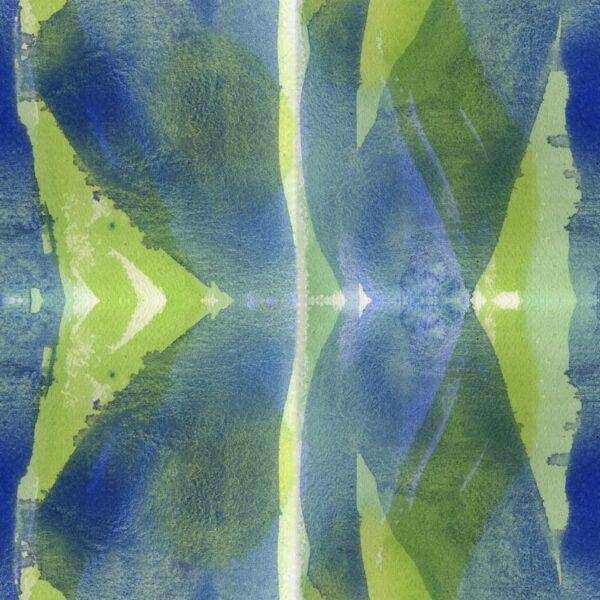 Forty Eight - Joris Martens   abstrakt blau geometrisch grün Strukturen Textur Wasserfarbe