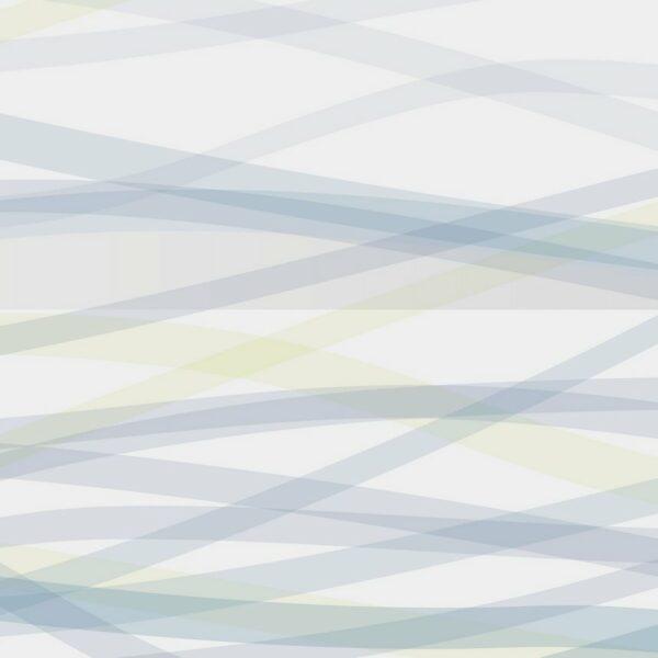 Flow - Sabine Schröter | abstrakt blau flächig geometrisch grau Linien modern Mural Pastell Wandgestaltung Wellen zart