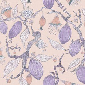 Theobroma (violett) - Lise Froeliger | beige Blumen Blüten exotisch exzentrisch floral Früchte lila violett