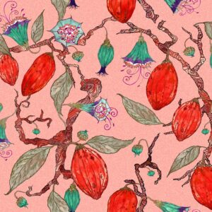 Theobroma (rot) - Lise Froeliger | Blumen Blüten exotisch exzentrisch floral Früchte Kontrast
