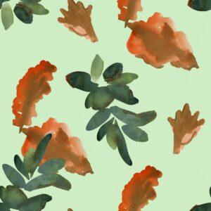 Floral passage green - Joris Martens | floral grün Natur orange
