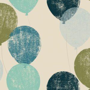 Balloons - Petrol - Julia Schumacher | blau fliegend graphisch khaki Kinder Linoldruck Luftballon modern Petrol Skandi