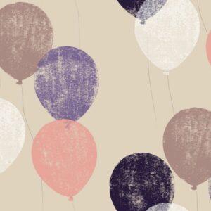 Balloons - Lila - Julia Schumacher | aubergine graphisch Kinder Kinderzimmer lila Linoldruck Luftballon Mädchen modern rosa