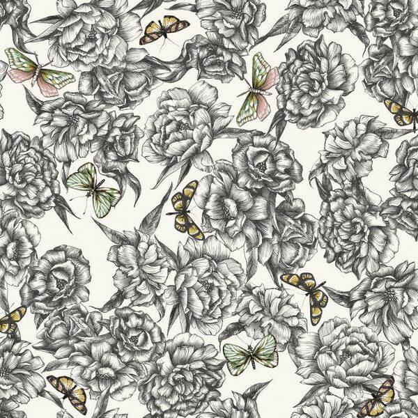 Pionys and Butterflies - Helene Ekblom | Blumen Malerei romantisch rosa Schmetterlinge