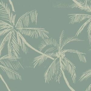 Beach - Julia Schumacher | 2 colours abstract trees chalk sea monochrome nature palms beach holiday