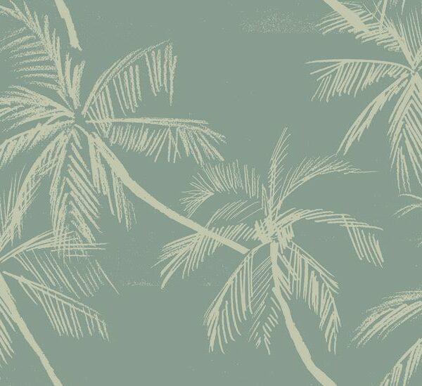 Beach - Julia Schumacher | 2 Farben abstrakt Bäume Kreide Meer monochrom Natur Palmen Strand Urlaub