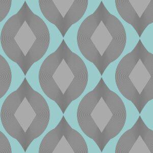 Salmi - hellblau / grau - Juliane Sommer | geometrisch grau hellblau Linien Ornament Rauten