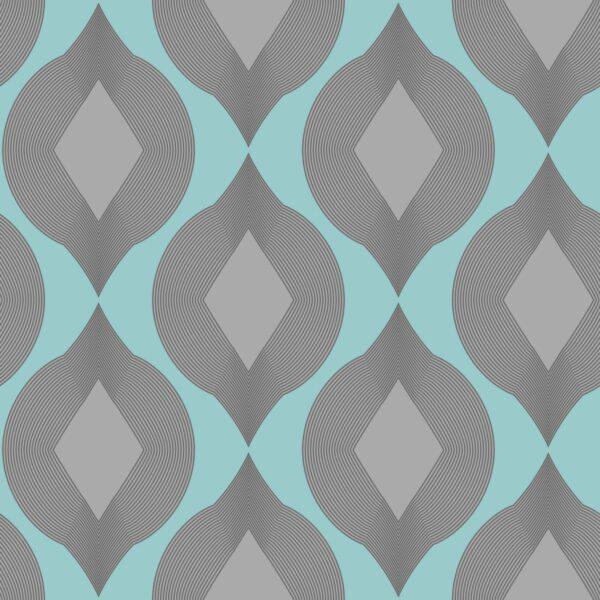 Salmi - hellblau / grau - Juliane Sommer   geometrisch grau hellblau Linien Ornament Rauten