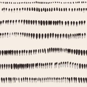 Brushstrokes - Dunkelbraun auf Creme - Julia Schumacher | abstrakt ethno graphisch horizontal Linien modern Pinselstriche schwarz/weiß Streifen Wellen