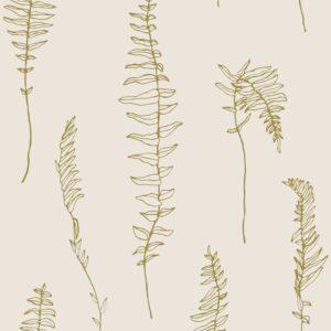 Dancing fern - Gold auf Creme - Sabine Schröter | abstract beige fern gold graphic hygge modern monochrome nature outline pictorial