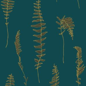 Dancing fern - gold on petrol - Julia Schumacher | abstract elegant fern gold graphic hygge modern nature outline pictorial