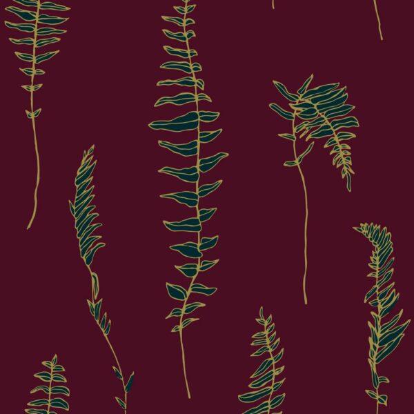 Dancing fern - Gold auf Bordeaux - Julia Schumacher   abstrakt bordeaux Farn gold graphisch hygge malerisch modern Natur Outline