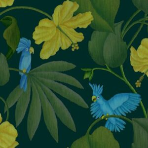 Dschungel - Stephanie Komarek-Fechler | allover animals birds blue cockatoo floral foliage green hibiscus jungle leaves nature plants vines yellow