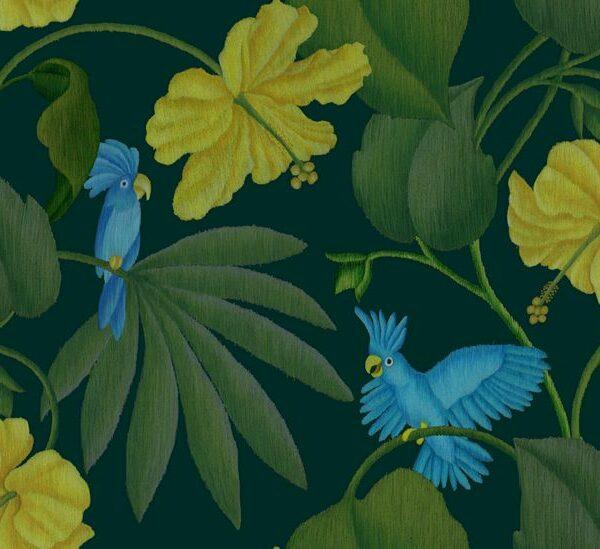Dschungel - Stephanie Komarek-Fechler | Allover Blätter Blattwerk blau Dschungel floral gelb grün Hibiskus Kakadu Natur Pflanzen Ranken Tiere Vögel