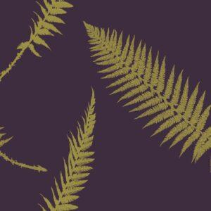 Fern - Gold auf Aubergine - Julia Schumacher | abstrakt aubergine edel elegant Farn floral gold Natur Schattenriss zeitlos