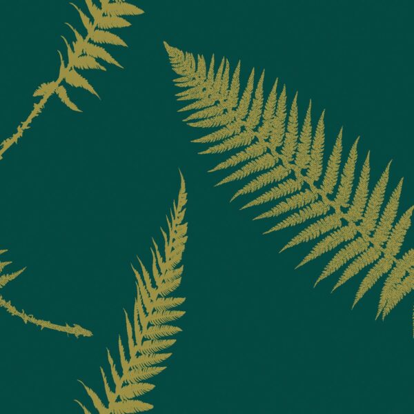 Fern - Gold auf Waldgrün - Julia Schumacher | abstrakt edel elegant Farn floral gold grün Natur Schattenriss zeitlos