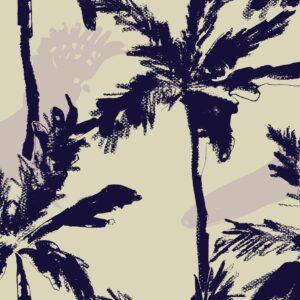 Cockatoo's Paradise - Julia Schumacher | abstrakt aubergine graphisch Kakadu lila malerisch modern Palmen Papagei Strand