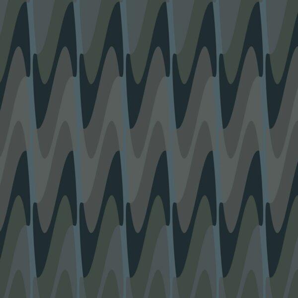 Steps-dark - Juliane Sommer   abstrakt dunkel Geometrie Grafik grau Oliv schwarz türkisblau Wellen