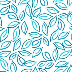 Samoa Leaves (blau) - Lise Froeliger | Blätter blau exotisch stilisiert tropisch türkis