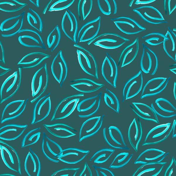 Samoa Leaves (green) - Lise Froeliger | Blätter exotisch grün stilisiert tropisch türkis