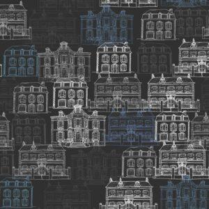 Maison Facades (schwarzblau) - Lise Froeliger | Frankreich graphisch Häuser Nacht schwarz Stadt Straße