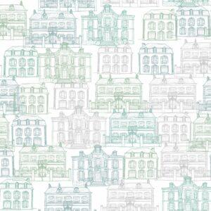 Maison Facades (grün) - Lise Froeliger | Frankreich graphisch grau grün Häuser Stadt Straße