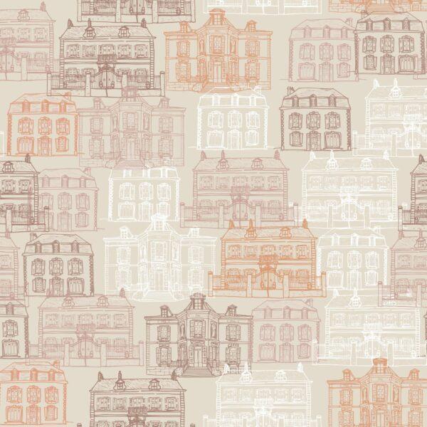 Maison Facades (beige) - Lise Froeliger | beige braun Frankreich graphisch Häuser Honig Stadt Straße warm