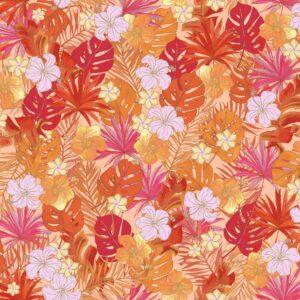 Tropical Fury (kupfer) - Lise Froeliger | Bananenblätter Blätter Blattwerk Blumen Hibiskusblüten kupfer Natur Palmen Pflanzen rot tropisch