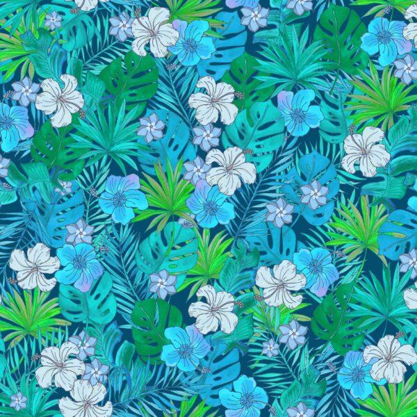 Tropical Fury (grün) - Lise Froeliger | Bananenblätter Blätter Blumen Blüten grün Hibiskusblüten kupfer Natur Palmen Pflanzen tropisch türkis