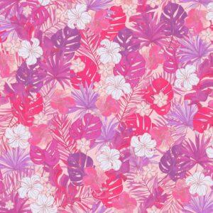 Tropical Fury (pink) - Lise Froeliger | banana leaves flowers grenadine hibiscus flowers leaves palms pink purple tropical violet
