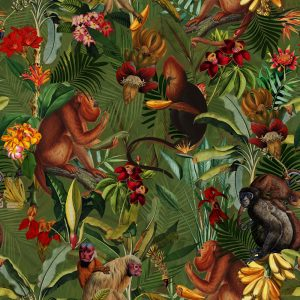 Wallpaper Tropical Monkey Flower Jungle Night